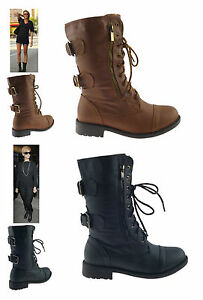 LADIES-WOMENS-NEW-FLAT-LOW-BLOCK-HEEL-ANKLE-BIKER-MILITARY-ARMY-BOOTS-SHOES-SIZE