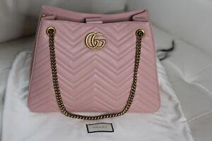 c4364b180b1b NWT Gucci GG Marmont Pink Chevron Leather Shoulder Bag Purse Tote ...