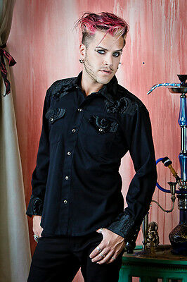 SHRINE GOTH GOTHIC rocker TAPESTRY COWBOY STEAMPUNK WEDDING VICTORIAN SHIRT