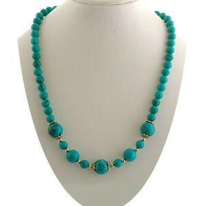 195-00-Cts-tgw-Round-Blue-TURQUOISE-NECKLACE-NATURAL-GEMSTONE