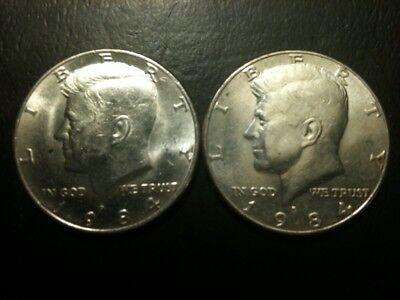 1971-1981 P D Kennedy 50 Cent US Half Dollar 10 yr Set Clad No Silver Mint 1976