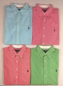 Men-039-s-US-Polo-Assn-Big-amp-Tall-Small-Gingham-Checker-Short-Sleeve-Shirt