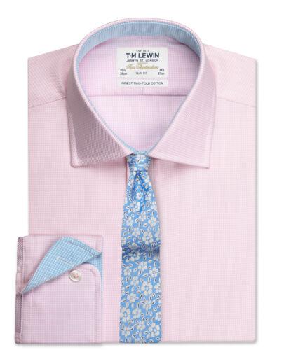 T.M.Lewin Mens Slim Fit Pink Arrow Twill Button Cuff Shirt