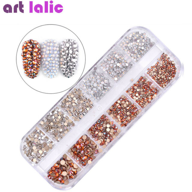 1440Pcs Mix Size Nail Art Crystals AB Rhinestones Rose Gold Opal Tips Decor