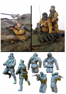 1-35-WW2-Russian-Soldiers-Tank-Crew-Figures-High-Quality-Resin-Kit-Free-Shipping