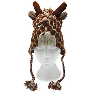 Fun Giraffe Handmade Winter Woollen Animal Hat. Fleece Lining, One Size, UNISEX