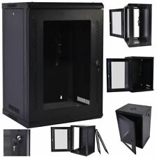18U Wall Mount Network Server Data Cabinet Enclosure Rack Glass Door Lock w/ Fan
