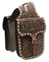 Showman Medium Oil Floral Tooled Leather Horn Bag W/ Buck Stitching Horse Tack