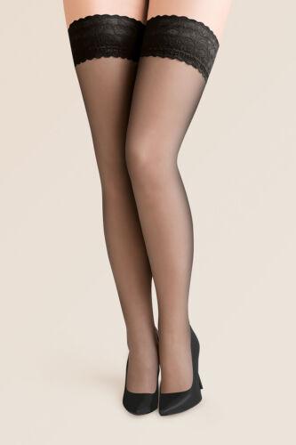 Gabriella Calze Lace Sheer Stockings Hold Ups Plus Size Lycra 15 Denier