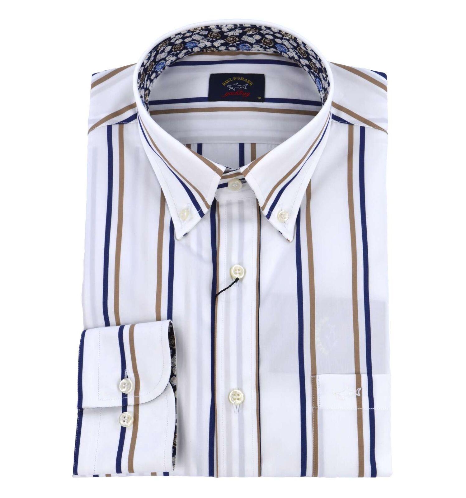 PAUL & SHARK uomo camicia button down righe fondo bianco P18P3206 200