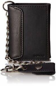 Levi-039-s-Men-039-s-Leather-Trifold-Chain-Wallet-Black