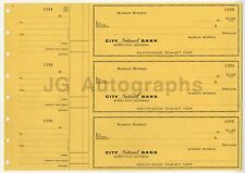 Marilyn Monroe - Original, Vintage Personal Bank Checks - Uncut Sheet of 3