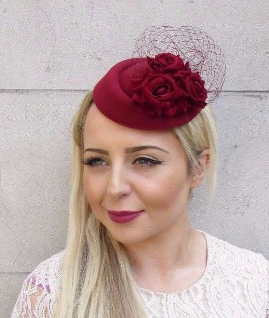 Burgundy Wine Red Rose Flower Pillbox Hat Fascinator Races Hair Clip Vtg  3732 7df6a81564b
