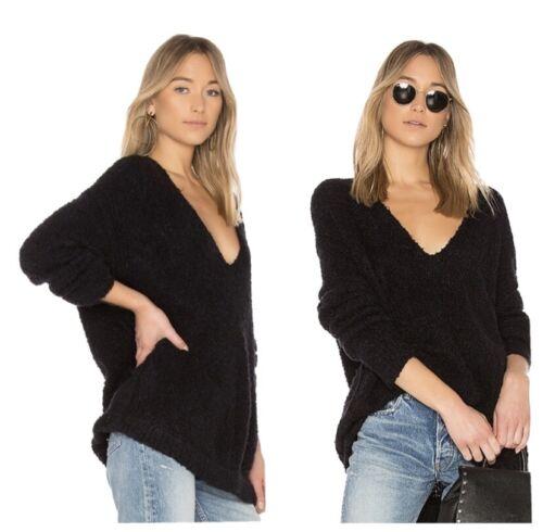 Free People Lofty V-Neck Sweater Size XS Black Al