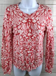 Ann-Taylor-Loft-Red-White-Knit-Button-Long-Sleeve-Sweater-Cardigan-Size-S-A3103