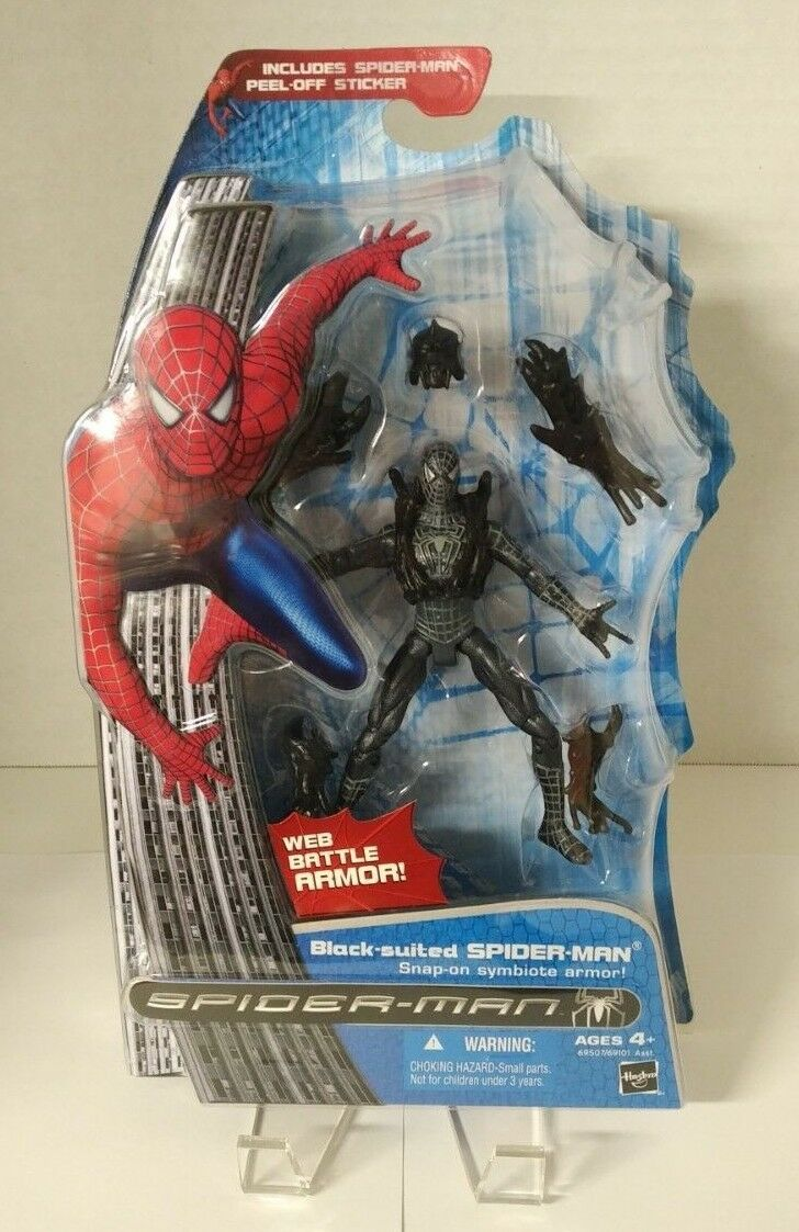 Spider-Man 3 (película 2007) Cardado-nero-Suited Spider-Man (Menta en caja)