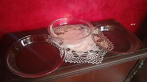 3-Clear-Glass-VTG-PYREX-Baking-Dish-Ovenware-Anchor-Hocking-Pie-Plates-Cake-Pan