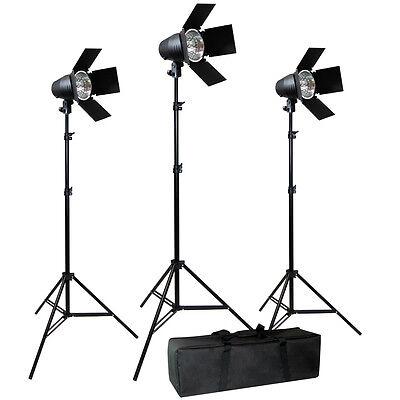 Video Photography Studio Film 3 Barndoor Tungsten Film Video Lighting Kit Case
