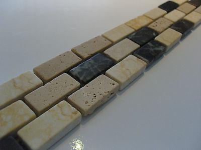Naturstein Bordüre Fliese Borde Mosaik TOP braun beige anthrazit travertin
