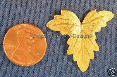 6pc Raw Brass Fancy Fall Autumn Leaf Leave Finding 4447