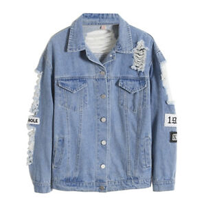 Frayed Long Sleeve Letter Print Patch Denim Jacket Women Ripped Coat