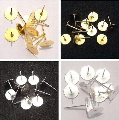 Silver/Gold Earrings Hooks Ear Nail Stud 6/8mm Planar Base Docking Station