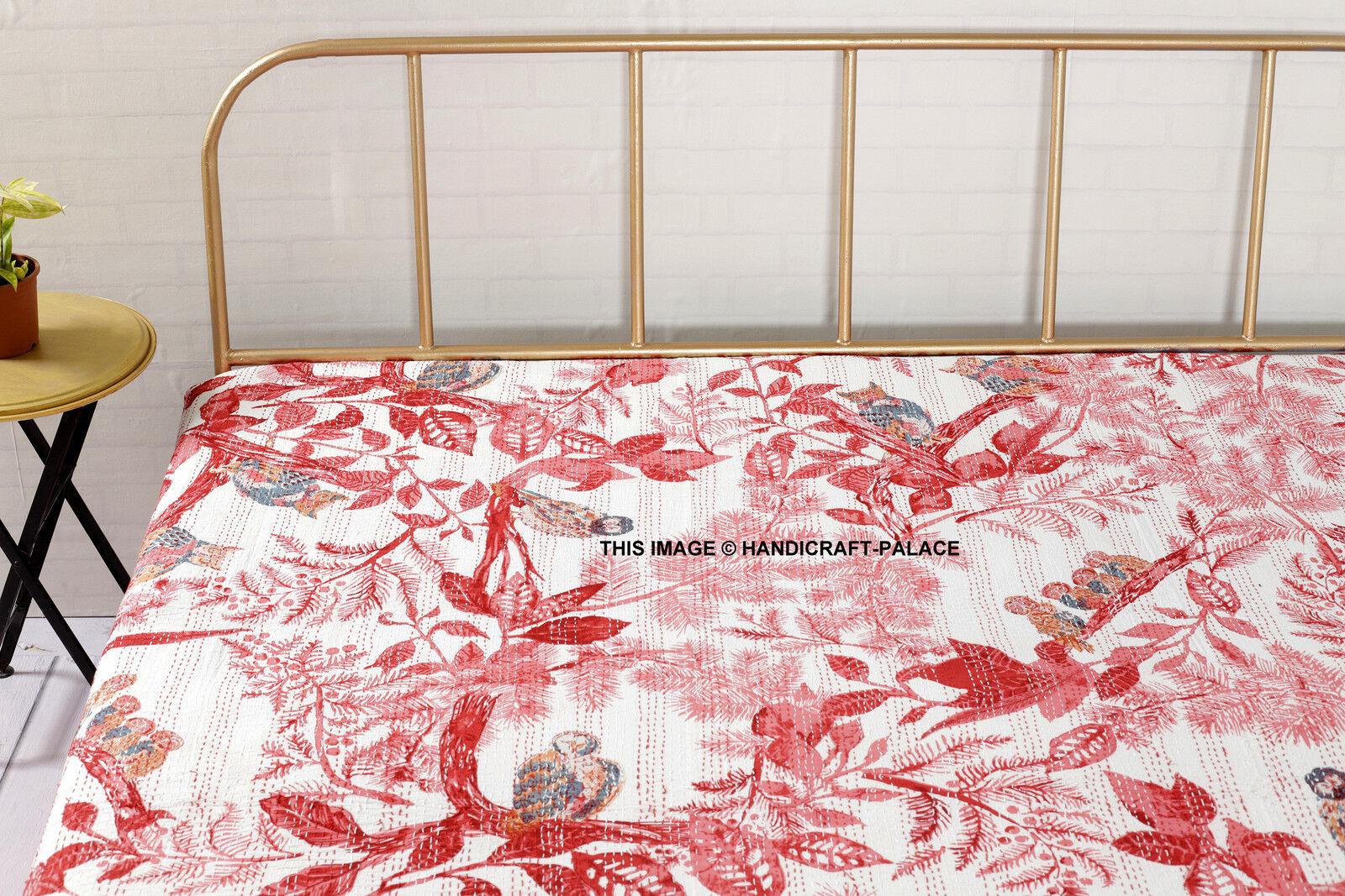 Indian Vintage Owl Bird Print Handmade Kantha Quilt Bedspread Queen Queen Queen Throw Decor 9dc778
