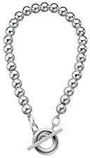 """Elements 8"""" 925 Polished Sterling Silver Ladies Ball Link T-Bar Bracelet"""