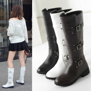 Plus-Size-Womens-Buckles-Equestrian-Boots-Low-Heel-Zipper-Knee-High-Riding-Boots