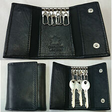 GENUINE REAL LEATHER UNISEX KEY CHAIN HOLDER WALLET PURSE CASE POUCH BLACK