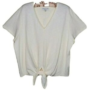 Madewell Top Womens NWT Texture And Thread Beige Tie Front V Neck Plus Size 2X