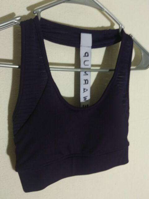 006b0b62e6c30 jessica simpson the warm up sport exercise bra top XS eggplant purple T back