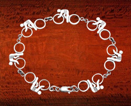 "Sterling Silver Track Bike w//Racers 7.25/"" Bracelet BR117"