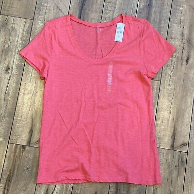 NWT LOFT Long Sleeve Scoop Neck Cotton Tee Top Pink L  NEW