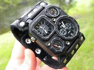Bison-leather-wristband-cuff-Men-watch-bracelet-wristwatch-for-biker-customize