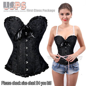 2e8dca29734 Womens Sexy Boned Lace Up Corset Bustier Top Lingerie G-string Plus ...