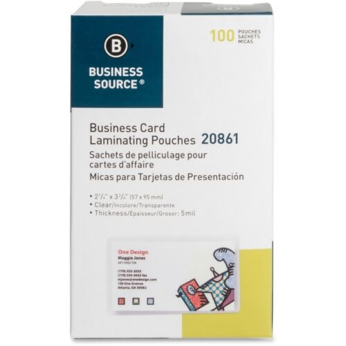 Business Source Business Card Laminating Pouch