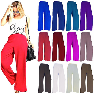 Womens High Waist Stretch Palazzo Wide Leg Flared Ladies Plain Trousers Pants UK