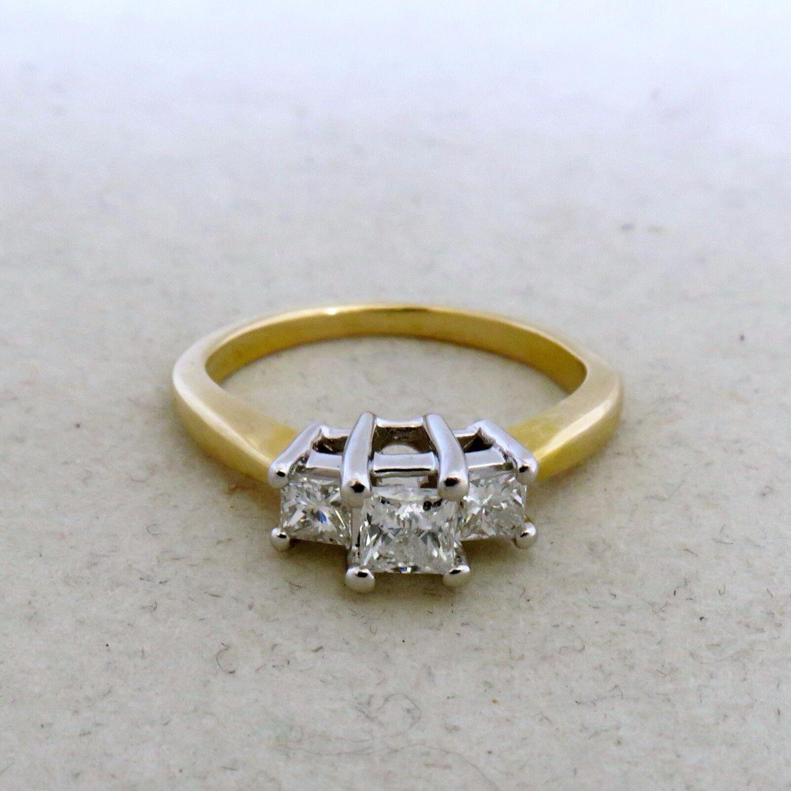 14K Yellow gold Engagement Ring w  3 Princess Diamonds  .55 Carats (size 5.25)