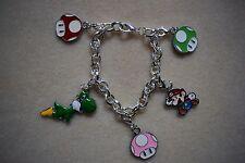 Charm Bracelet Mario Mushroom Toad Yoshi Kitsch Silver Plated