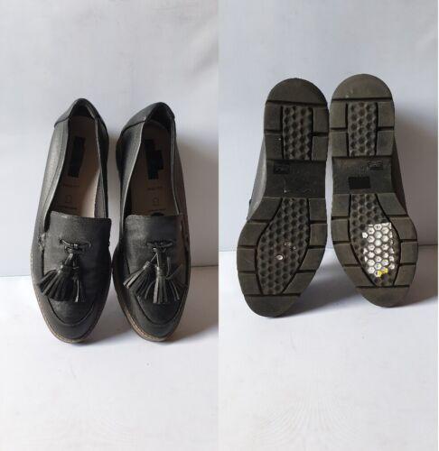 Ex M/&S Women/'s Wide Fit Leather Flatform Tassel Black RRP £49.50 #6730