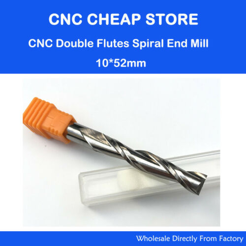 Carbide endmill Double Flute Spiral CNC Router Wood Milling Cutter Bits 10×52mm