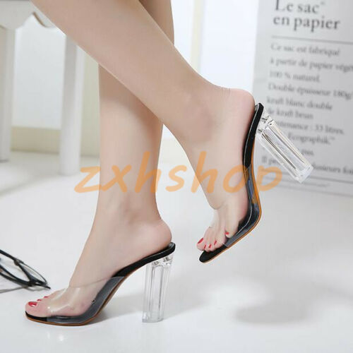 Transparent Slingbacks Sommer Slipperschuhe Blockabsatz Sandals Pantolette Damen qvRS0t