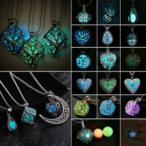 Fashion-Luminous-Steampunk-Magic-Flower-Locket-Pendant-Necklace-Glow-In-The-Dark