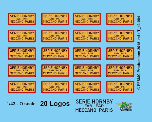 [FFSMC Productions] 0 scale - 1 43 Decals   20 Logos Meccano Hornby