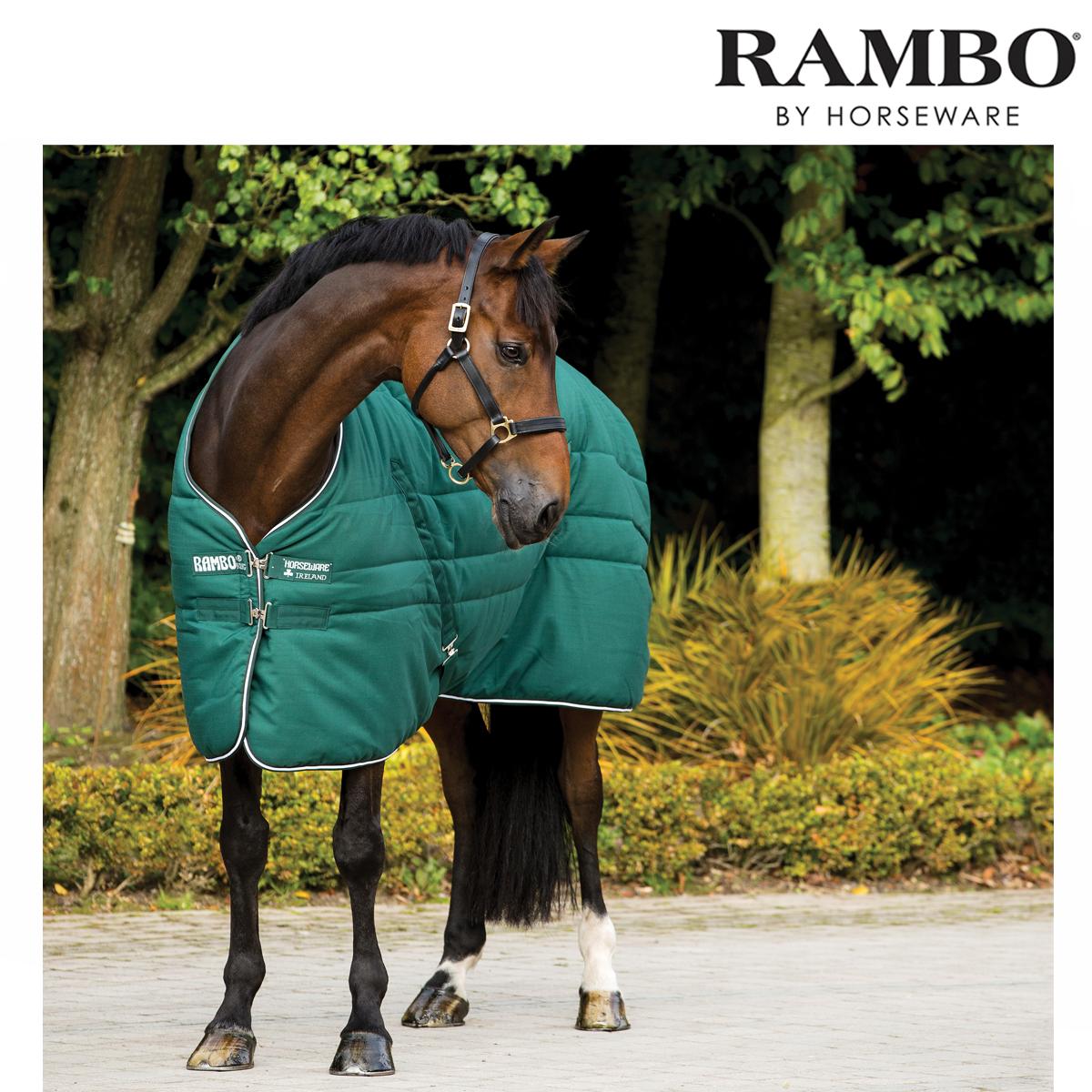 Horseware Rambo Heavyweight Stable Rug (Hunter Grün/Hunter Grün/Weiß) FREE