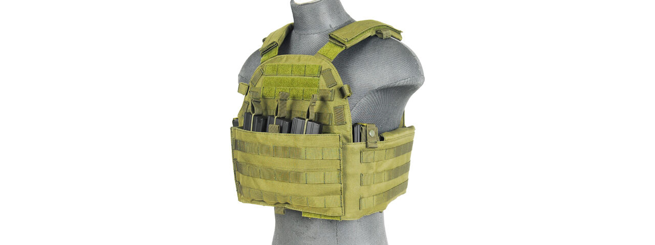 Lancer  Tactical Airsoft Plate Carrier Vest Triple Inner Mag Pouch Green CA-311G2  up to 70% off