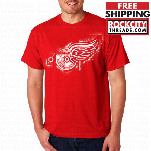 DETROIT RED WINGS RECORDS RED T-SHIRT Shirt Logo Tshirt NHL Lions Tigers Datsyuk