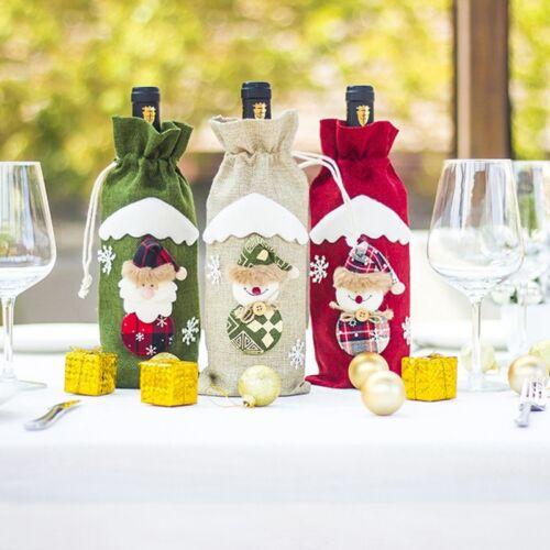 Christmas Santa Claus Red Wine Bottle Cap Bag Snowman Table Party Decoration US
