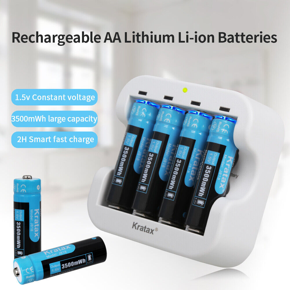 Kratax 1.5V Rechargeable AA Li-ion Battery 3500mwh Lithium Batteries & Charger